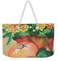 Pumpkin With Flowers Weekender Tote Bag