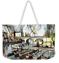 Weekender Tote Bag featuring the digital art Punting On The Thames - Watercolour by Pennie McCracken