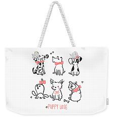 Puppy Love - Baby Room Nursery Art Poster Print Weekender Tote Bag