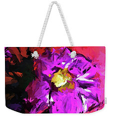 Purple And Yellow Flower And The Red Wall Weekender Tote Bag