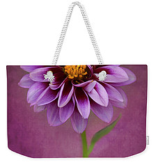 Weekender Tote Bag featuring the photograph Purple Dahlia by John Rodrigues