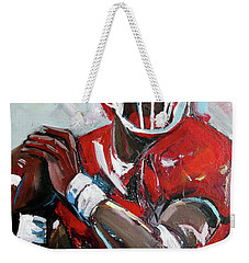 Weekender Tote Bag featuring the painting Quarterback by John Jr Gholson