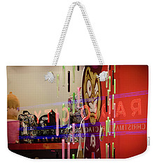 Weekender Tote Bag featuring the photograph Radio City Reflection by Steve Stanger