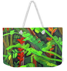 Weekender Tote Bag featuring the painting Rain Forest Memories by Linda Feinberg