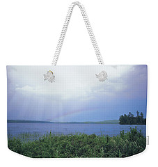 Weekender Tote Bag featuring the digital art Rainbow Over Raquette Lake by Christopher Meade