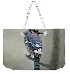 Rainy Day Blue Jay Weekender Tote Bag