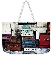 Ramsbottom.  Elr Railway Suitcases On The Platform. Weekender Tote Bag