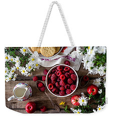 Weekender Tote Bag featuring the photograph Raspberry Breakfast by Top Wallpapers