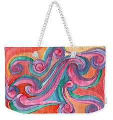 Weekender Tote Bag featuring the painting Red Abstraction by Dobrotsvet Art