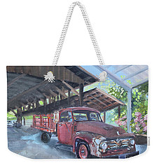 Weekender Tote Bag featuring the painting Red Ford And Pink Flowers by Jan Dappen