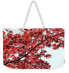 Weekender Tote Bag featuring the photograph Red Japanese Maple Leaves by Debi Dalio