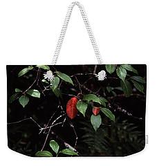 Weekender Tote Bag featuring the digital art Red Leaf by Christopher Meade