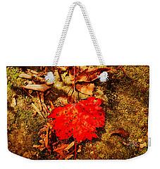 Red Leaf On Mossy Rock Weekender Tote Bag