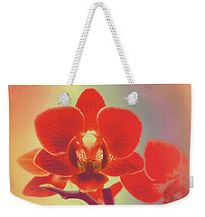 Weekender Tote Bag featuring the mixed media Red Orchid  by Rachel Hannah