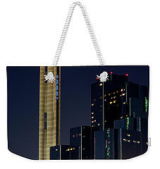 Weekender Tote Bag featuring the photograph Reunion Tower Dart Train 111918 by Rospotte Photography