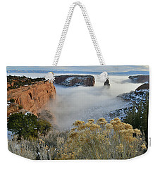 Rim Rock Drive View Of Fogged Independence Canyon Weekender Tote Bag
