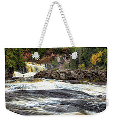 Weekender Tote Bag featuring the photograph Roaring Gooseberry Falls by Susan Rissi Tregoning