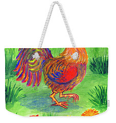 Rooster And Little Chicken Weekender Tote Bag