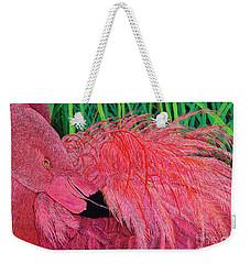 Ruffled Flamingo Weekender Tote Bag