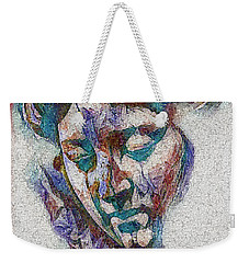 Weekender Tote Bag featuring the digital art Sad Lady Mosaic by Shelli Fitzpatrick