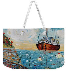 Weekender Tote Bag featuring the painting Safe Harbor by Maria Langgle
