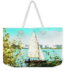Sailboat On The River Watercolor Weekender Tote Bag