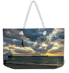 Weekender Tote Bag featuring the photograph Saint Sebastian Lighthouse At Sunset Cadiz Spain by Pablo Avanzini