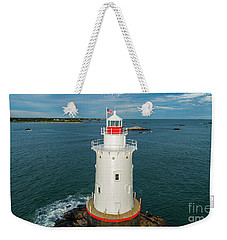 Weekender Tote Bag featuring the photograph Sakonnet Light  by Michael Hughes