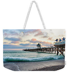 Weekender Tote Bag featuring the photograph A San Clemente Pier Evening by Brian Eberly