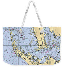 Sanibel And Captiva Islands Nautical Chart Weekender Tote Bag