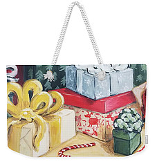 Weekender Tote Bag featuring the painting Santa Was Here by Maria Langgle