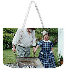 Weekender Tote Bag featuring the painting Santi ? by Val Byrne