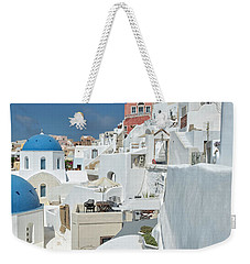 Weekender Tote Bag featuring the photograph Santorini And Up by Kay Brewer