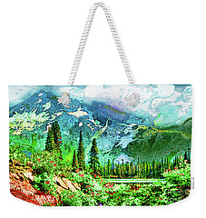 Weekender Tote Bag featuring the digital art Scenic Mountain Lake by James Fannin