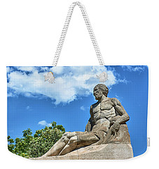 Weekender Tote Bag featuring the photograph Sculpture Of Gentleman On The Montjuic Hill In Spain by Eduardo Jose Accorinti