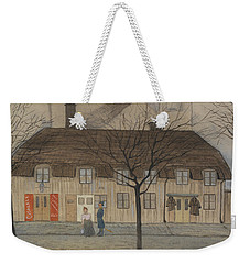 Weekender Tote Bag featuring the drawing Servant Girl And Policeman by Ivar Arosenius