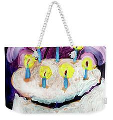 Seven Candle Birthday Cake Weekender Tote Bag