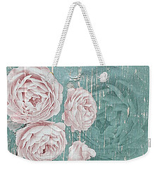 Shabby Chic Roses Distressed Weekender Tote Bag