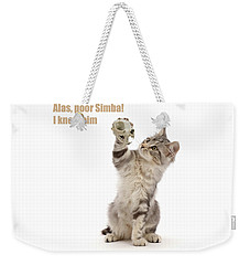 Weekender Tote Bag featuring the photograph Shakespeare Cat - Alas Poor Yorick by Warren Photographic