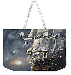 Weekender Tote Bag featuring the painting Ship Voyage by Miroslaw  Chelchowski