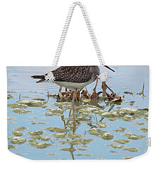 Weekender Tote Bag featuring the photograph Shorebird Reflection by Rick Veldman