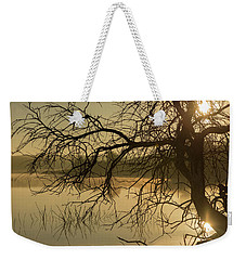 Silhouette Of A Tree By The River At Sunrise Weekender Tote Bag