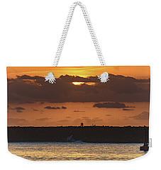Silhouettes, Breakwall And Sunrise Seascape Weekender Tote Bag