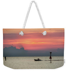Weekender Tote Bag featuring the photograph Silhouette's Sailing Into Sunset by Nathan Bush