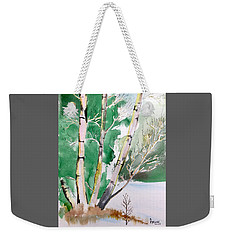 Silver Birch In Snow Weekender Tote Bag