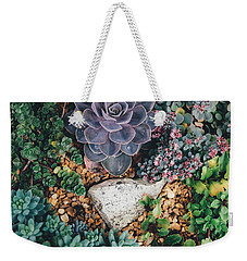 Weekender Tote Bag featuring the photograph Small Succulent Garden by Top Wallpapers