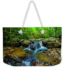 Weekender Tote Bag featuring the photograph Smith Creek Cascade by Andy Crawford