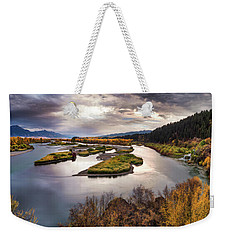 Weekender Tote Bag featuring the photograph Snake River Swan Valley by Leland D Howard