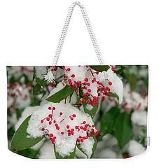 Snow Covered Winter Berries Weekender Tote Bag