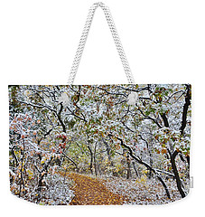 Snow Greets Autumn Weekender Tote Bag